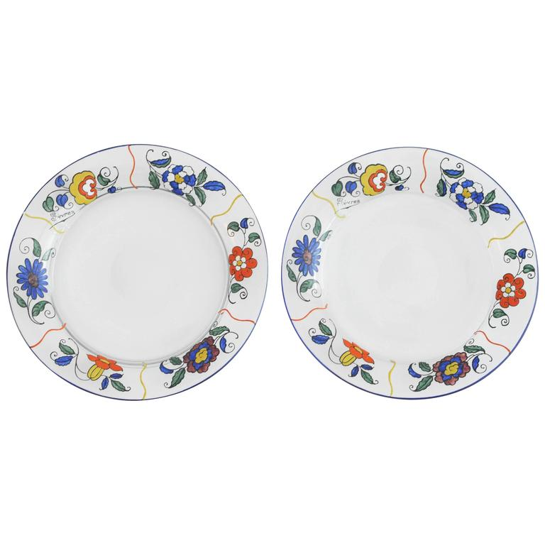 1920s Sevres Enameled Glass Plates For Sale