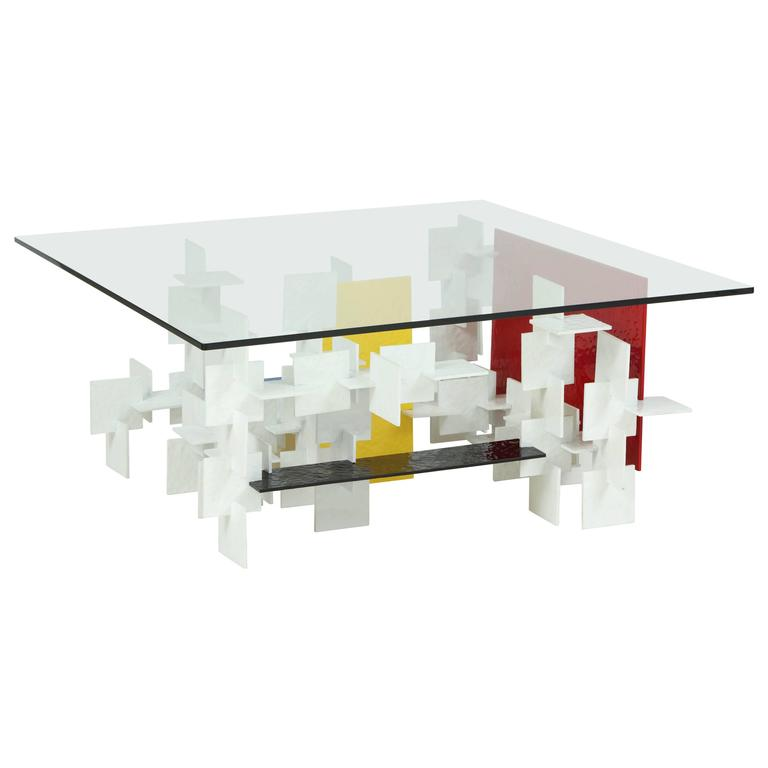 Fran Taubman Prototype Coffee Table, Multi-Colored Hammered Aluminum, 2012 1