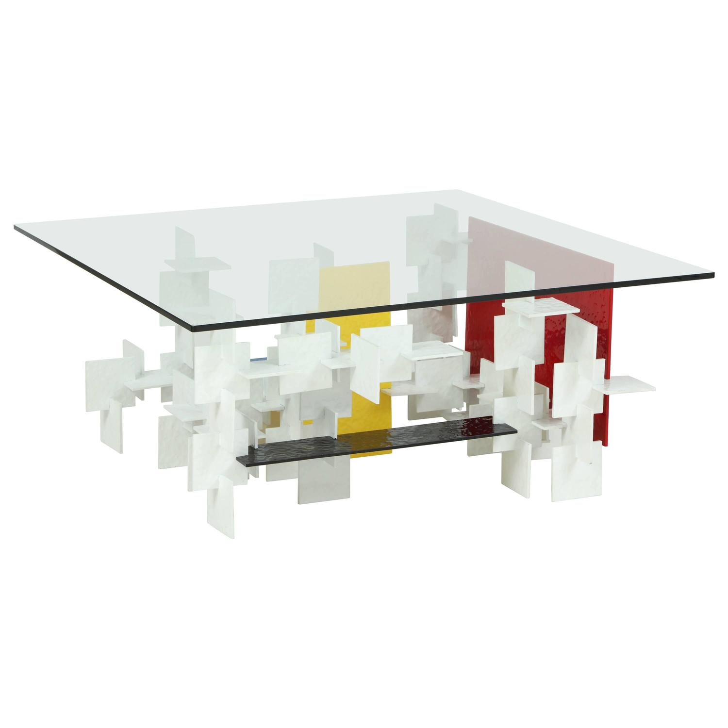 Fran Taubman Prototype Coffee Table Multi Colored Hammered