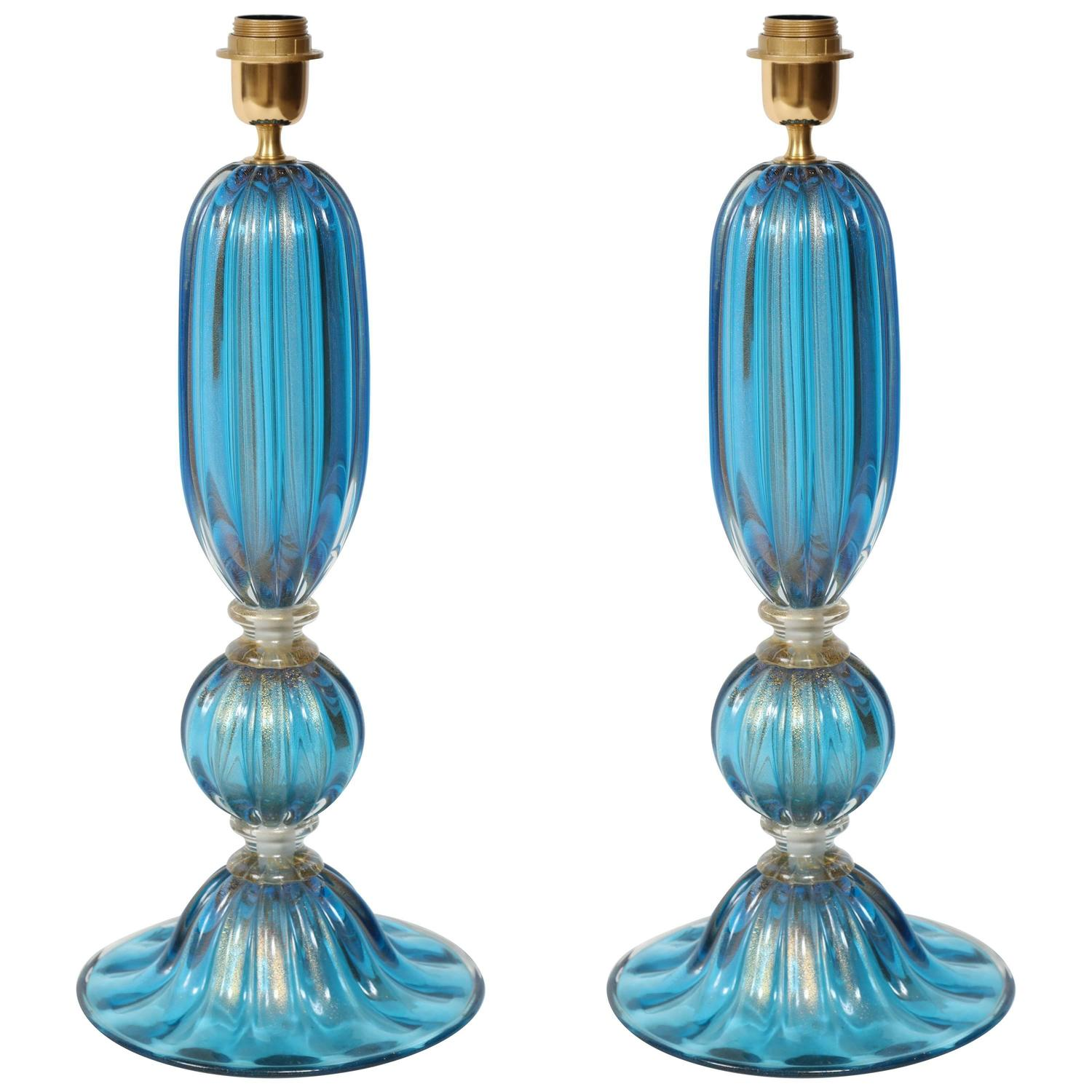pair of blue murano glass lamps for sale at 1stdibs. Black Bedroom Furniture Sets. Home Design Ideas