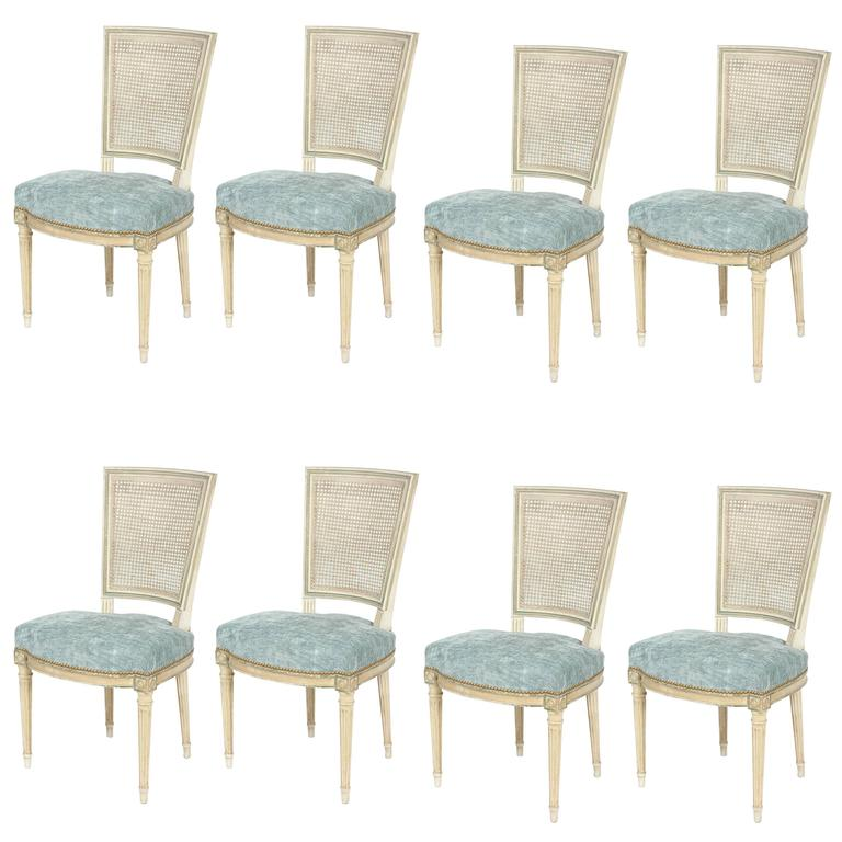 Set of Eight Louis XVI Style Caned Back Dining Chairs