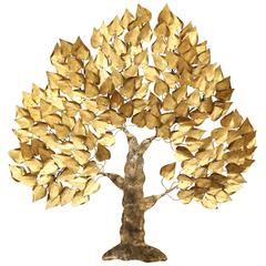 Gilt Metal Tree Wall Sculpture