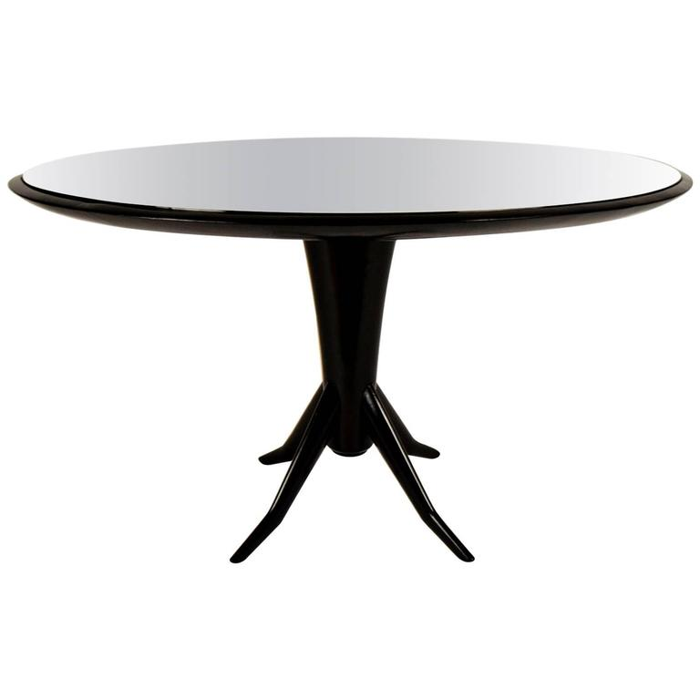 Ebonized Round Mirrored Dining or Center Table