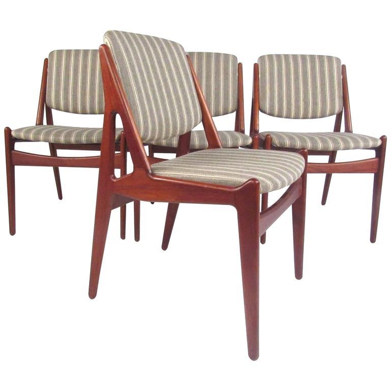 "Set of Danish Modern ""Ella"" Teak Dining Chairs by Arne Vodder"