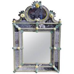 Venetian Murano Vibrant Decorative Floral Wall Mirror, Circa 1910