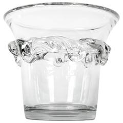 Large Vintage Daum Ice Bucket with Abstract Crystal Element on Exterior