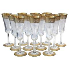 Saint Louis Thistle Pattern Gold Encrusted Champagne Flutes