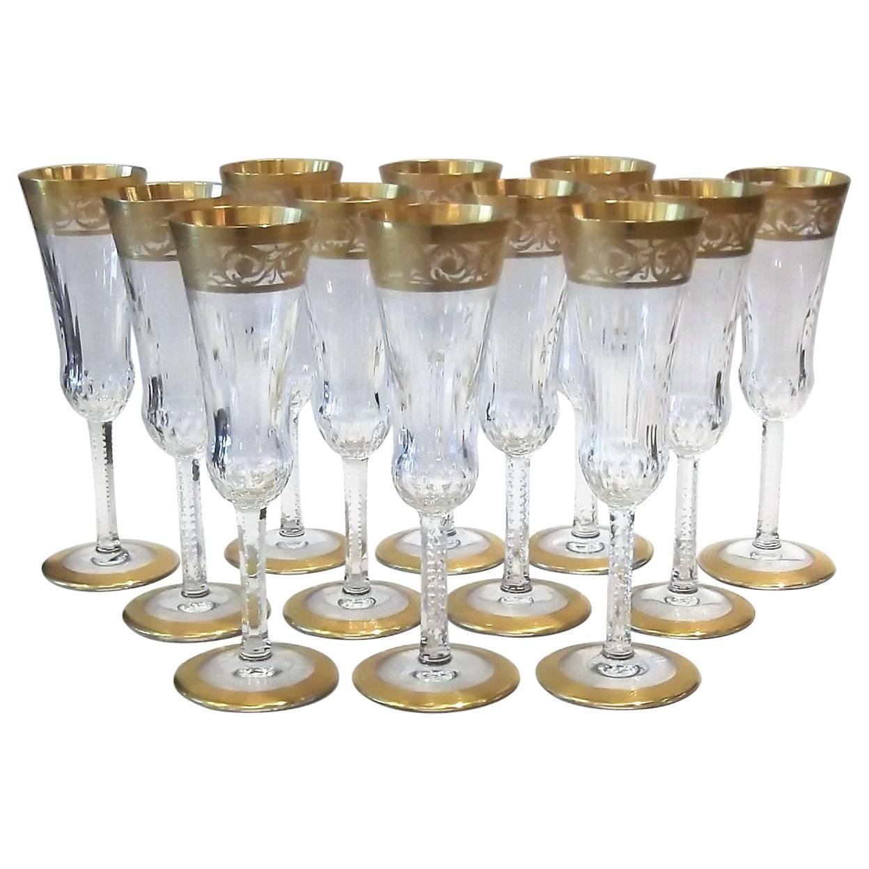 saint louis thistle pattern gold encrusted champagne flutes for sale at 1stdibs. Black Bedroom Furniture Sets. Home Design Ideas