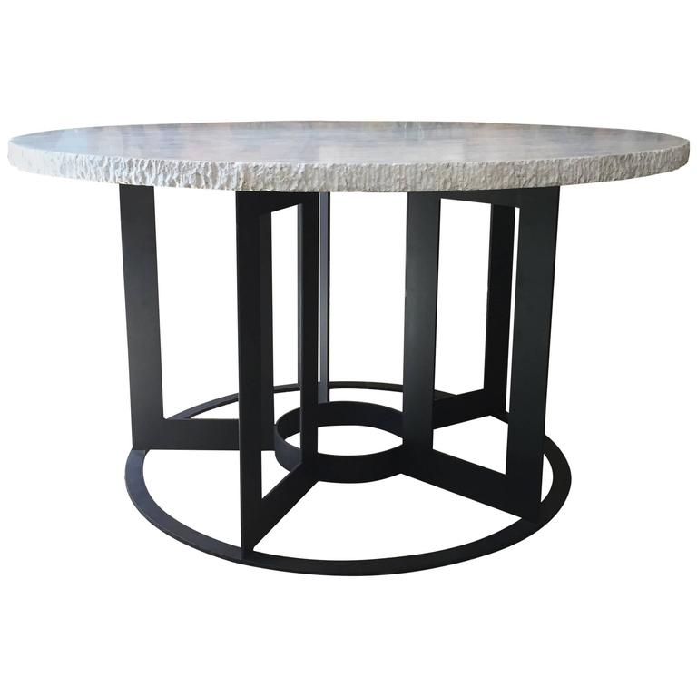 Travertine and Iron Dining Table