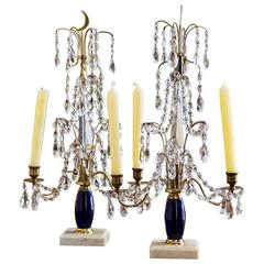 Pair of 19th Century Russian Candelabra with Marble and Cobalt Blue Glass