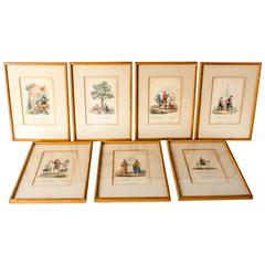 Antique Oriental Set of Seven Chinoiserie Prints