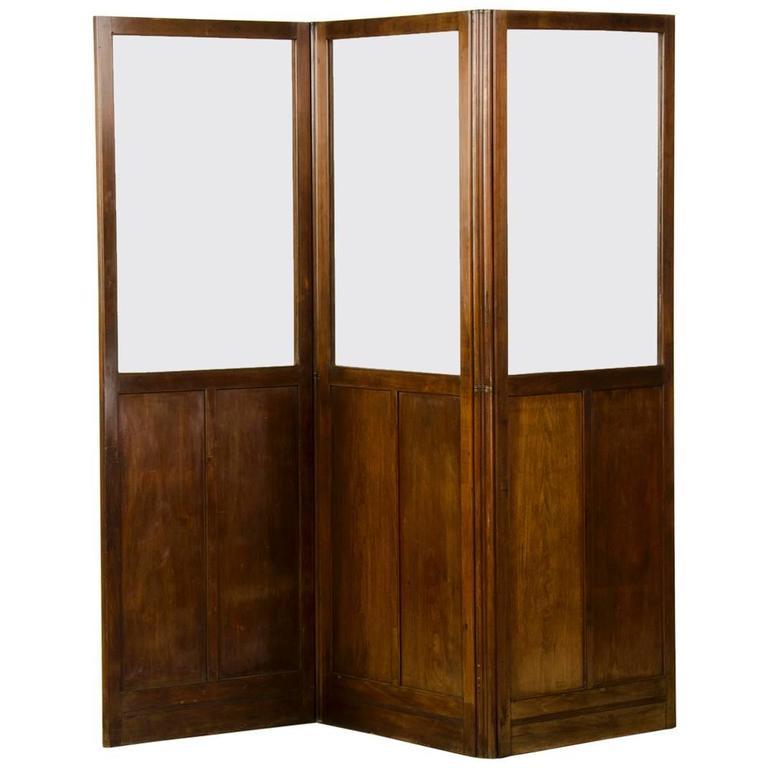 Antique English Mahogany and Glass Folding Room Screen, circa 1860