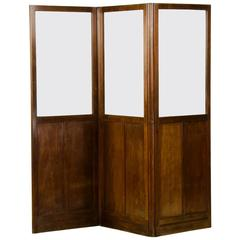 Antique English Mahogany and Glass Folding Room Screen, circa 1860