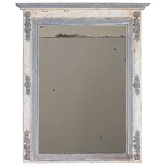 Antique French Louis XVI Painted Trumeau Mirror, circa 1880