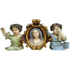 17th Century French Handcarved Polychrome Sculpture with Virgin Mary and Cherubs
