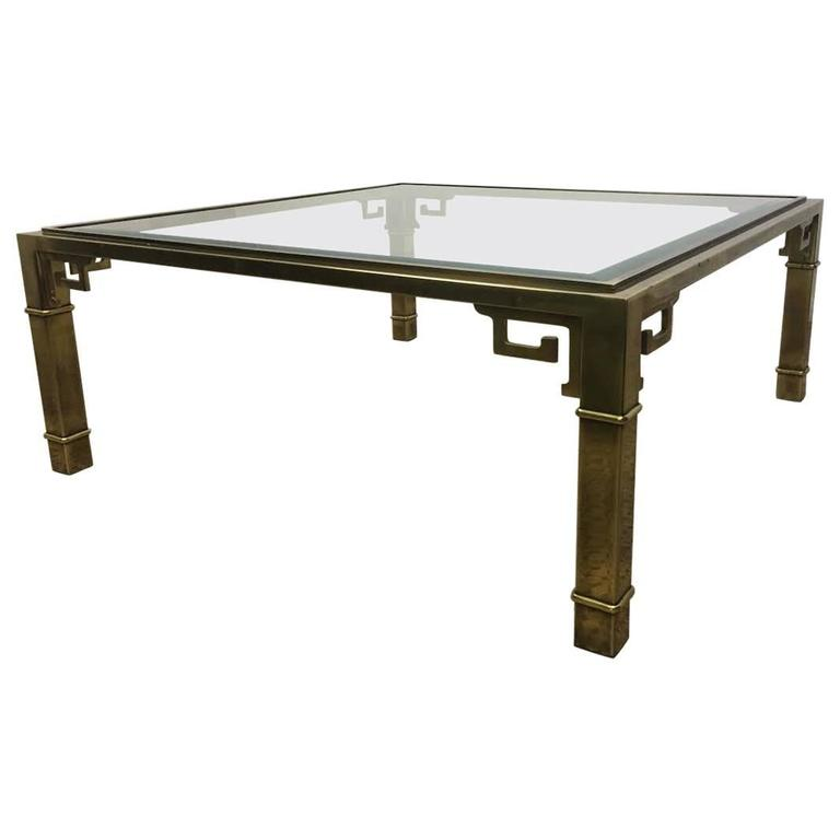 Mastercraft 1970s Brass Greek Key Large Square Coffee Table