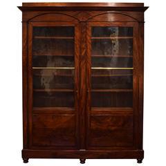 Italian Neoclassic Mahogany Two-Door Cabinet, Original Glass, Mid-19th Century