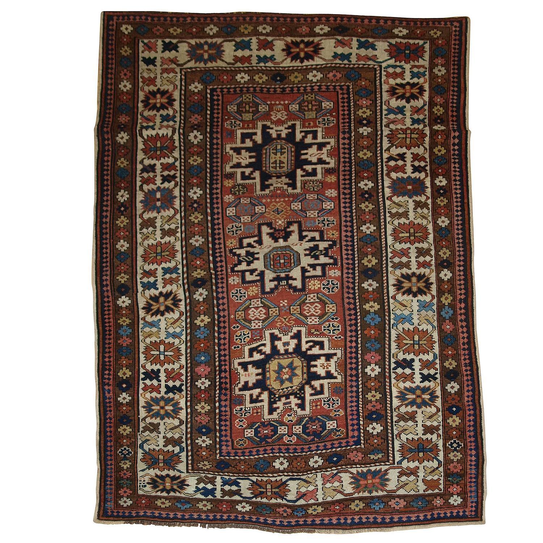 Antique Caucasian Rug With 'Lesghi Star' Design, Superb