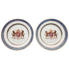 Pair of Faux Armorial Samsom & Cie Chinese Export Style Porcelain Plates