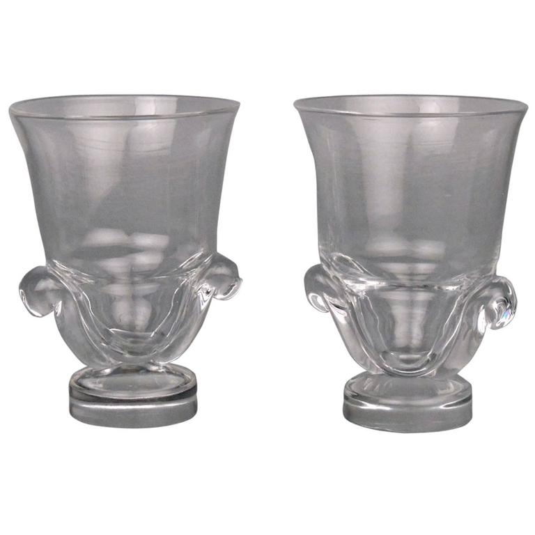 Pair Of Mid Century Modern Steuben Glass Scroll Handle Vases By