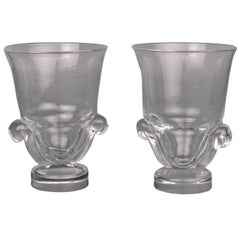 Pair of Mid-Century Modern Steuben Glass Scroll Handle Vases by George Thompson