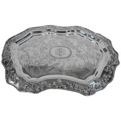 Large and Excellent Chinese Export Silver Salver Tray