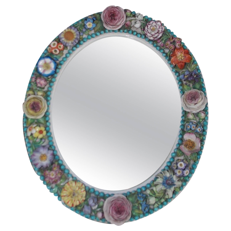 English Derby Porcelain Decorative Floral Oval Wall Mirror, Circa 1800