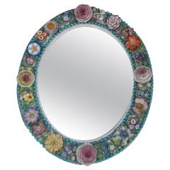 English Derby Porcelain Decorative Floral Oval Wall Mirror, Circa 1800