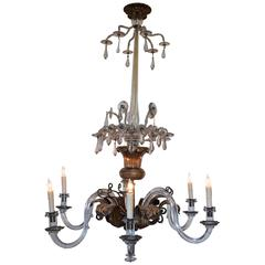 Italian Neoclassical Brass and Glass Six-Light Chandelier, 19th Century UL Wired