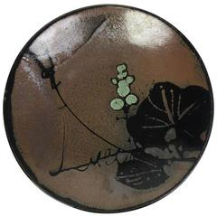 Beautiful Japanese Mashiko Ceramic Pottery Plate with Lily Pad