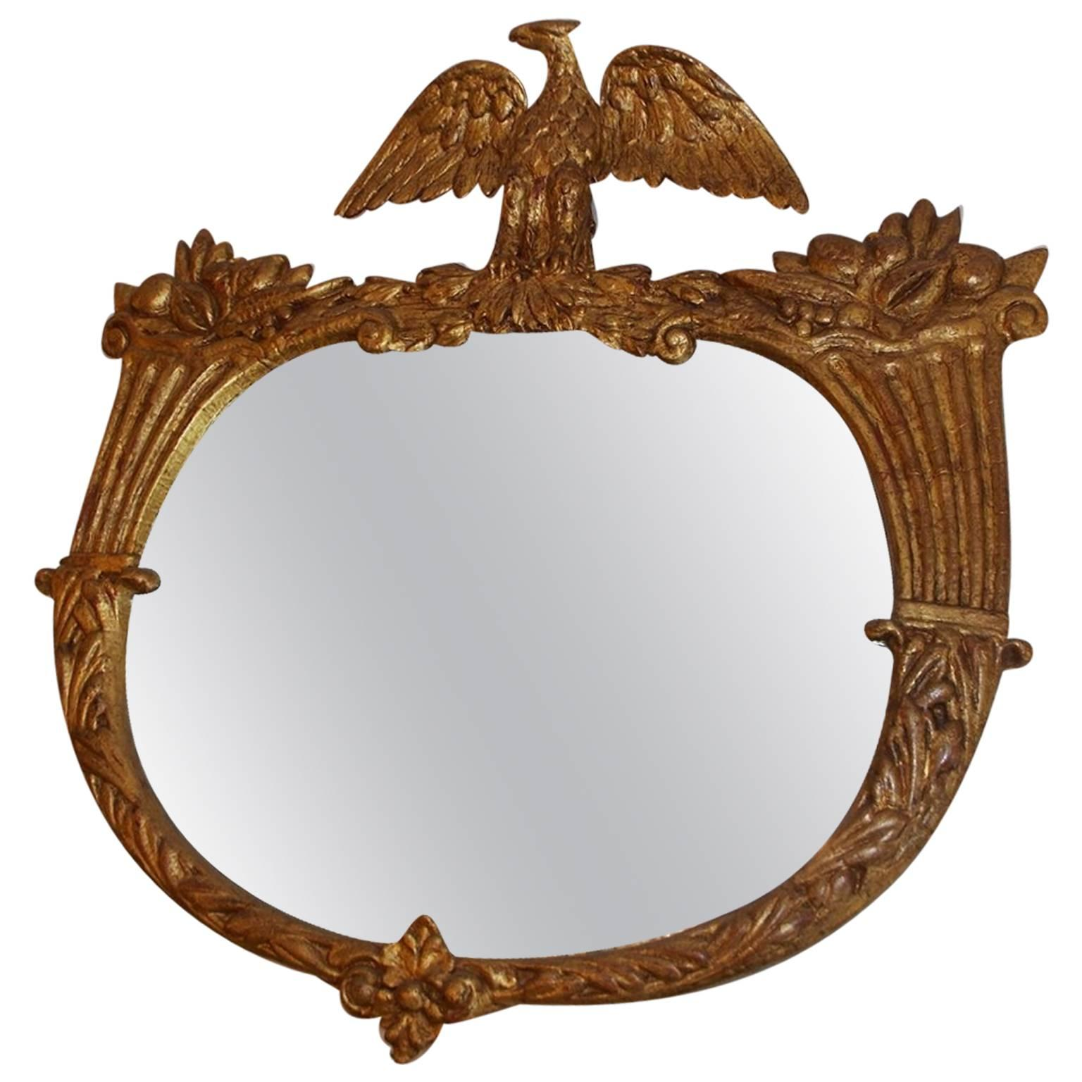 American Gilt Carved Wood Eagle & Cornucopia Wall Mirror, Circa 1830