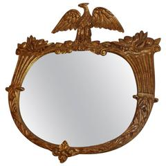 American Gilt Carved Wood Eagle & Cornucopia Wall Mirror, Circa 1830