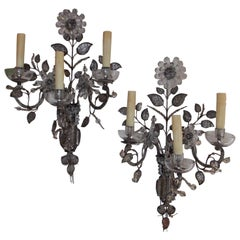 Pair of French Maison Baguès Style Crystal Floral Sconces, Circa 1880
