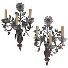 Pair of French Maison Baguès Crystal Floral Sconces, Circa 1880