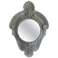 19th Century Antique Oeil De Boeuf Zinc Window Mirror with Provenance
