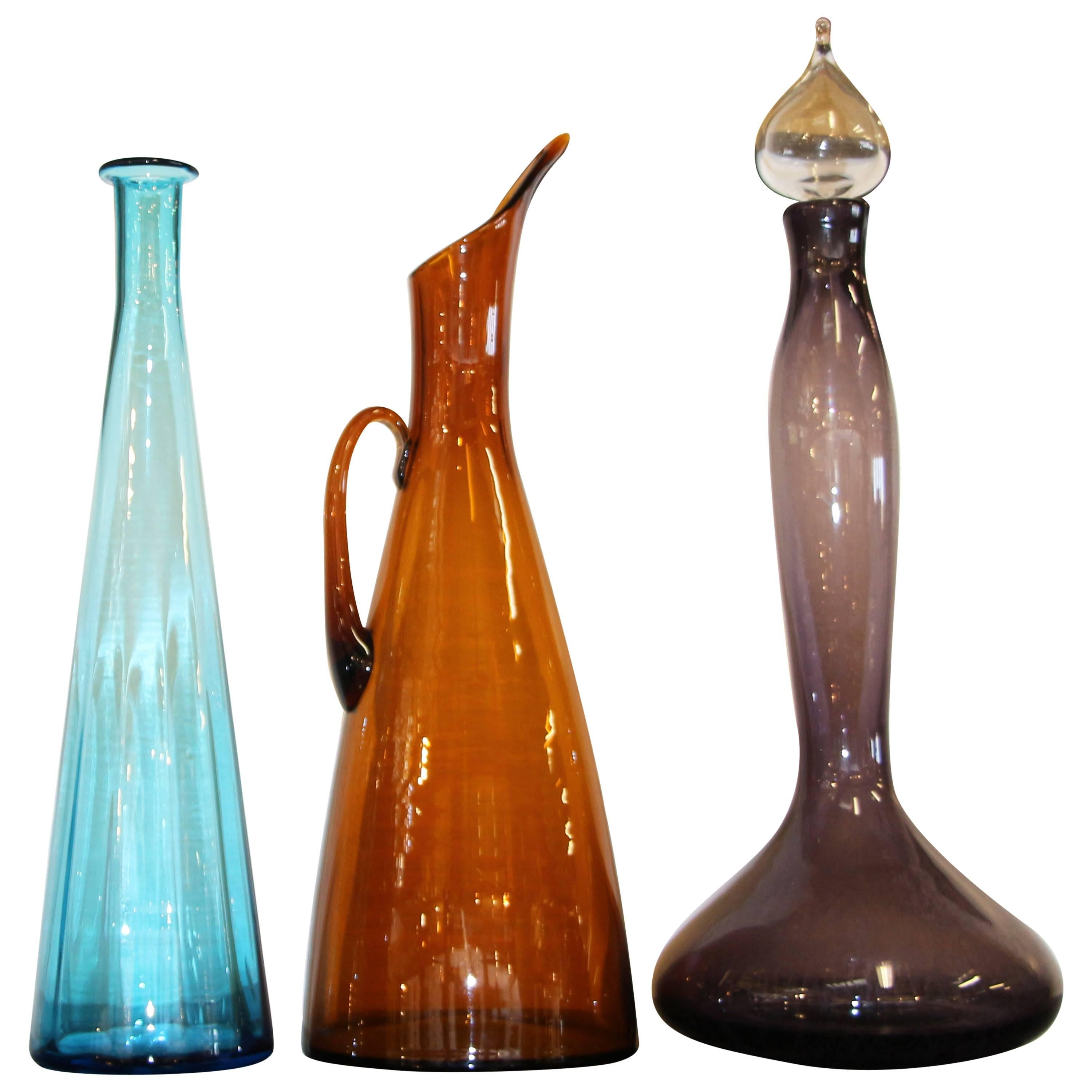 Three Blenko Glass Vessels, One is a Decanter with Stopper