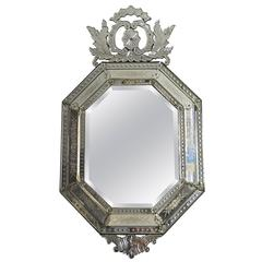 19th Century Antique Venetian Octagonal Cushion Mirror with Decorative Cartouche