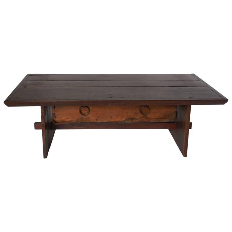 Coffee Table With Drawers Sale: Rustic Coffee Table With Leather Bottom Drawer For Sale At