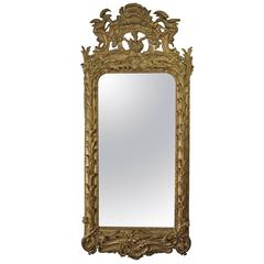 18th Century Swedish Rococo Period Gilded Cartouche Mirror