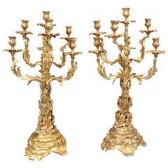 Pair of Large Victorian Ormolu Rococo Candelabras Bronze Candles