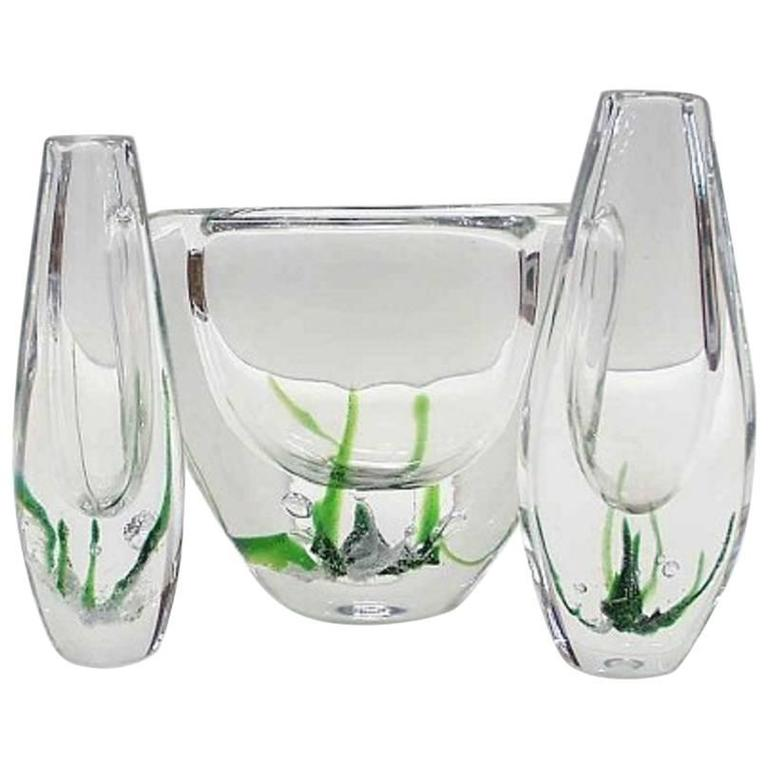 Three Kosta Boda Glass Vases By Vicke Lindstrand Modern Swedish