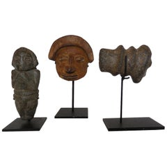 Pre Columbian Fragments on Iron Stands