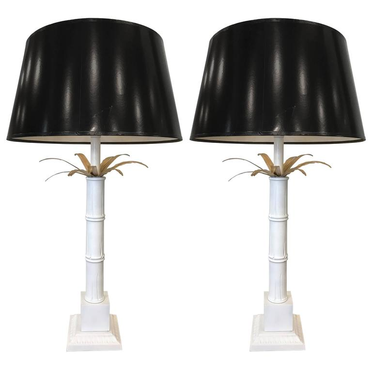 Pair of Vintage Palm Tree Lamps Style of Maison Jansen