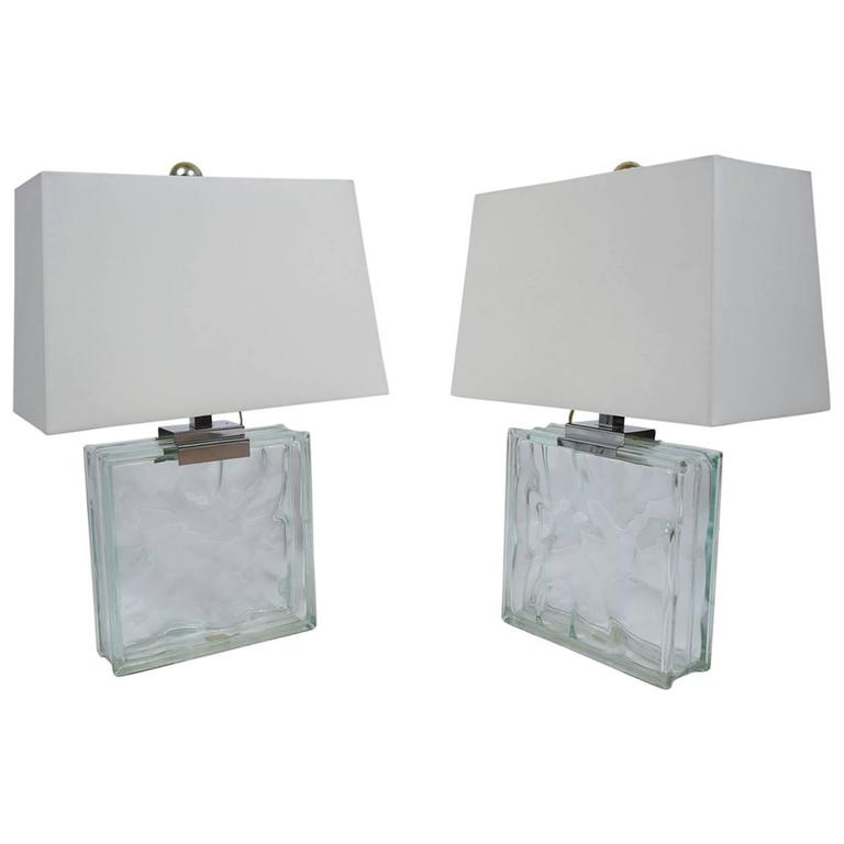 Pair of Glass Table Lamps by Raymor