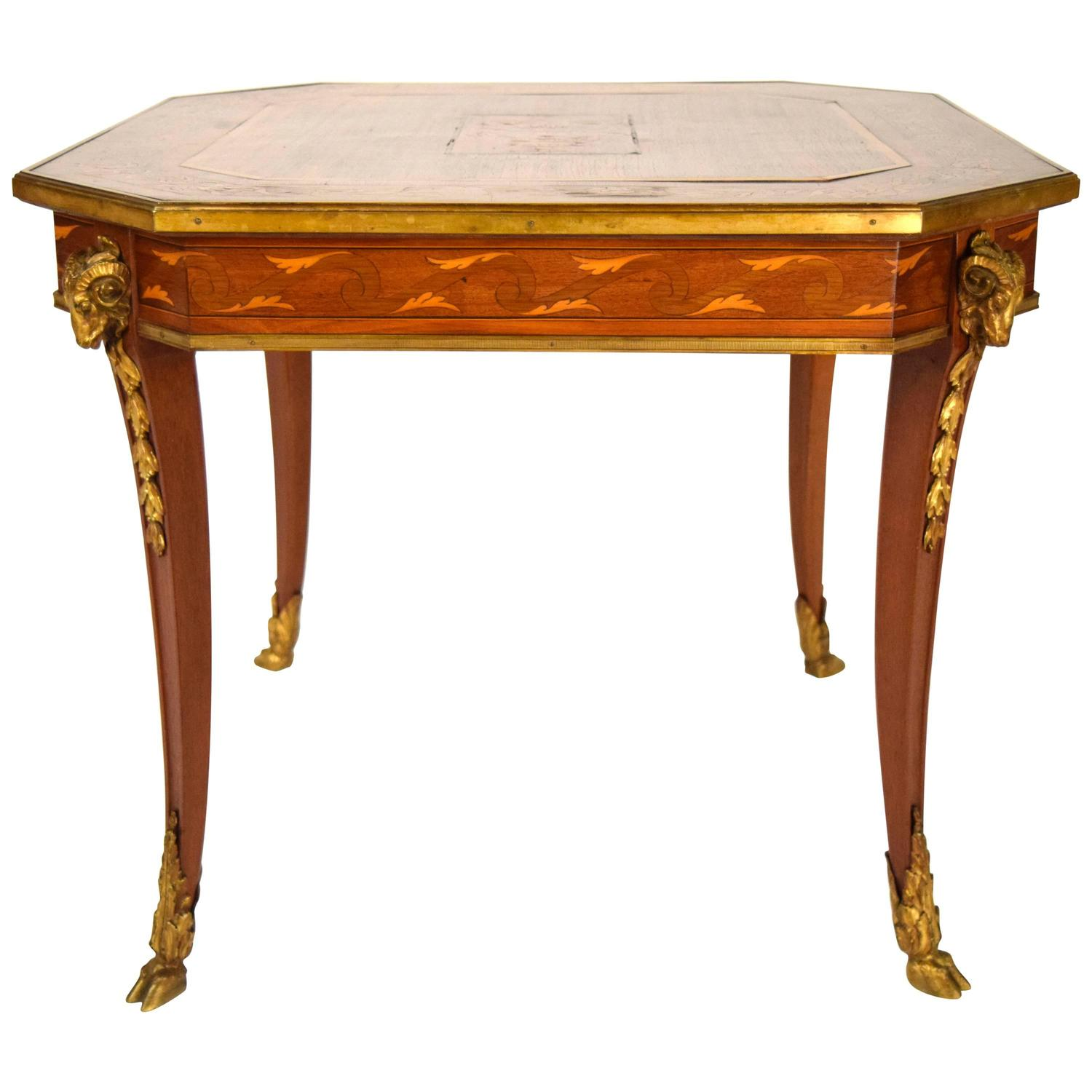 French antique marquetry octagonal side table for sale at