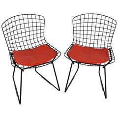 Pair of Black Harry Bertoia Child's Chairs by Knoll