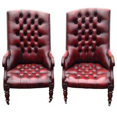 Special Pair of William IV Mahogany and Tufted Red Leather Library Chairs