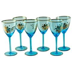 "Beyond Beautiful ""Soft Sea"" Blue and Gold Leaf Hollywood Regency Glassware"