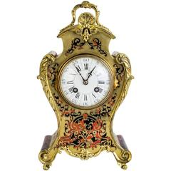 Antique French Red Boulle Cut Brass Mantel Clock, circa 1880