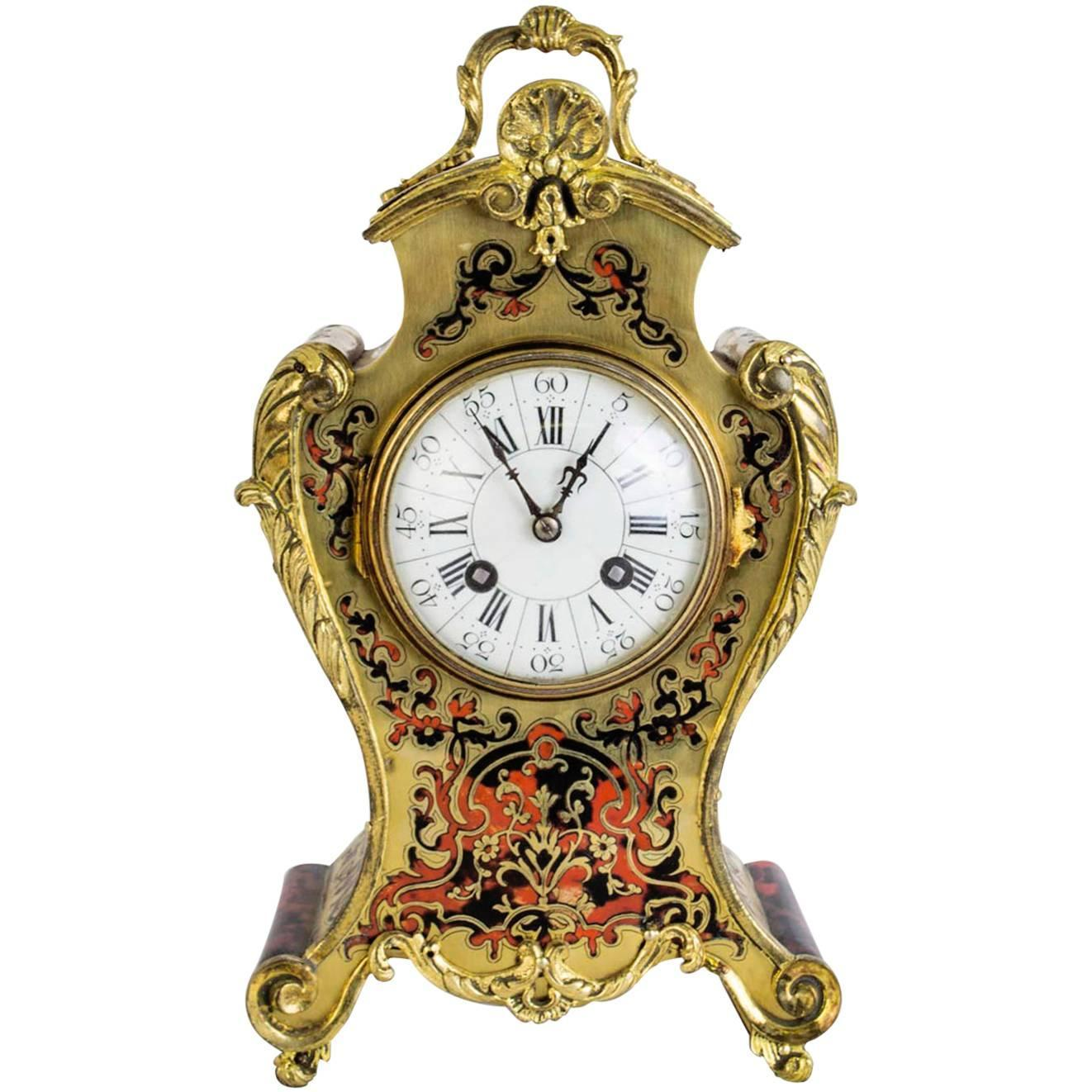 antique french boulle mantel clocks for sale at stdibs - antique french red boulle cut brass mantel clock circa
